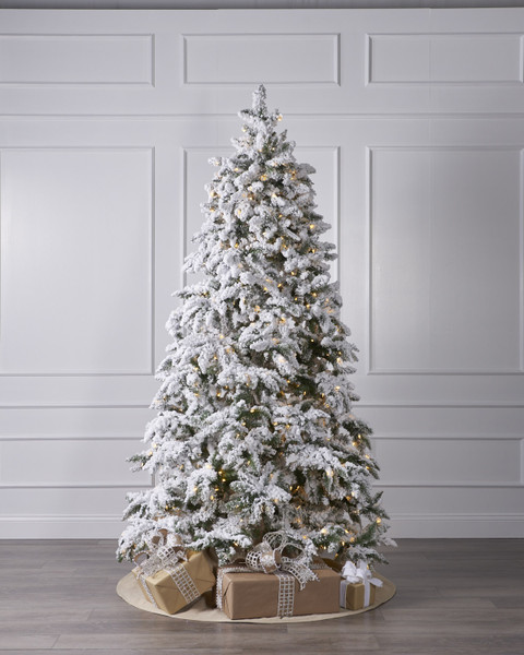 8 Ft Flocked Christmas Tree: 7.5 Ft Flocked Cascade Tree