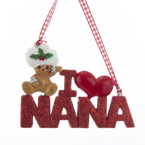 i love nana gingerbread ornament