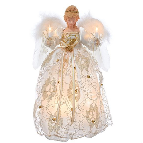 Ivory and Gold Angel Lighted Tree Topper - Christmas Trees, Tree Toppers, Angels On High