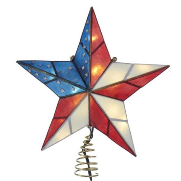 Capiz Star American Flag Tree Topper