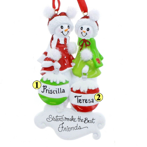 Snow Sisters 2 - Christmas Ornaments, Sister~Brother