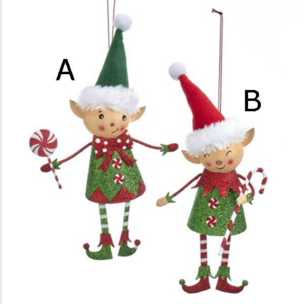 size 40 98769 0868b Red and Green Glittered Elf Ornaments